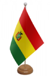 Bolivia Desk / Table Flag with wooden stand and base